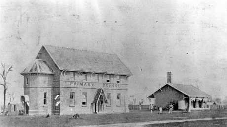 ABOVE: This was the first primary school in the Wide Bay Burnett area, opened in 1862, on the corner of Alice and Lennox StS, Maryborough (where the fire station is). The school quickly outgrew this building and was moved to the immigration barracks in Kent St, Maryborough in 1877.