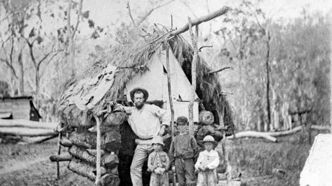 LEFT: These pioneers, pictured at their settlement in 1860, were among the first people to settle at Maryborough.