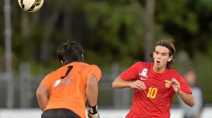 DOING HIS BIT: Striker Kobe Fuller is scoring for Sunshine Coast Fire but the coach wants more from his mid-fielders.