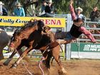 BIG BAD BRONCO: A rider takes a fall during the saddle bronc ride at last year's Chinchilla Show Rodeo.