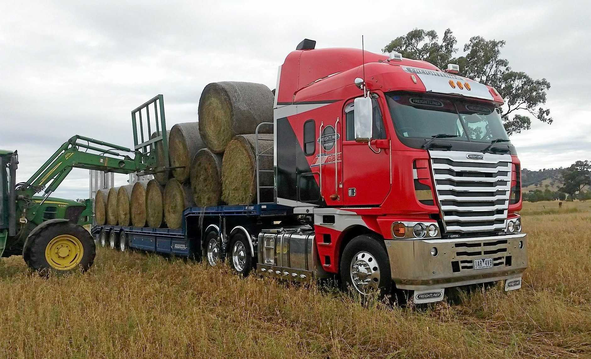Freightliner Racing driver Paul Stax Eddy, is using the team truck to deliver donated hay to farmers in drought-hit Queensland as part of the Burrumbuttock Hay Runners Convoy that gets going tomorrow. Photo Contributed