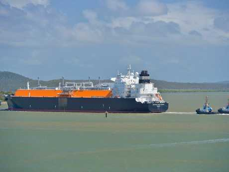 The LNG Tanker Methane Mickie Harper on its way to be the second ship filled by QCLNG, January 2015.