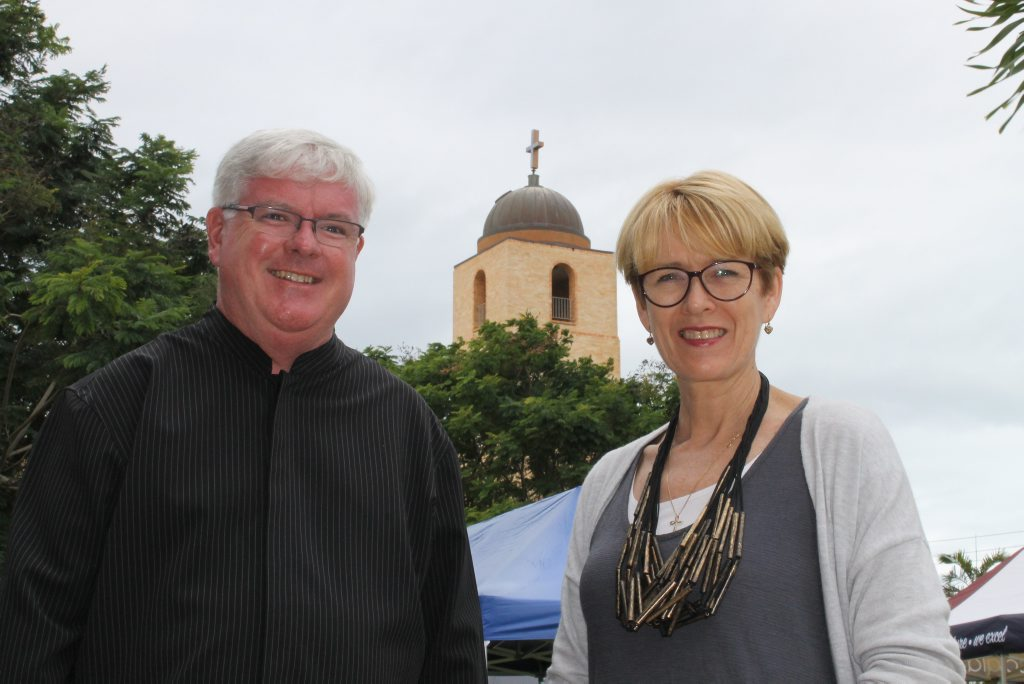 Father Stephen Hanly and committee member/150th anniversary organiser Vicki Heggie at St Patrick's anniversary celebrations.