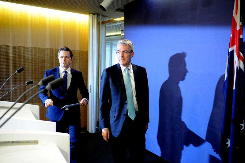 Australian Shadow Attorney-General Mark Dreyfus and Australian Shadow Minister for Communications Jason Clare speak to the media in Sydney, Friday, May 20, 2016. The Federal Labor MPs commented on Australian Federal Police (AFP) raids at the Melbourne offices of Labor Senator Stephen Conroy along with the home of a Labor staffer.