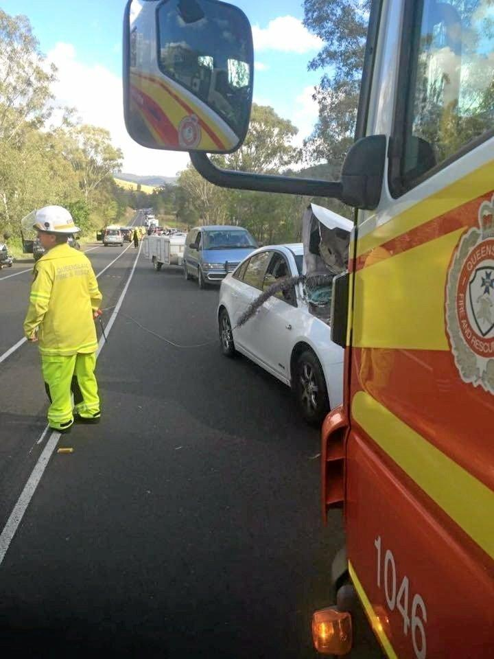 This photo taken by Clayton Towing shows the back-up of traffic on the Bruce Hwy near Bells Bridge.
