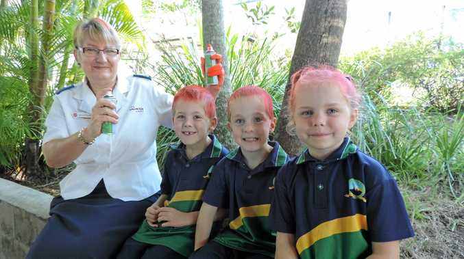 CHARITY: Nambour Salvation Army's Rosemary Campbell with Year 1 students Ethan and Alex Wilson and Gail Quirke.