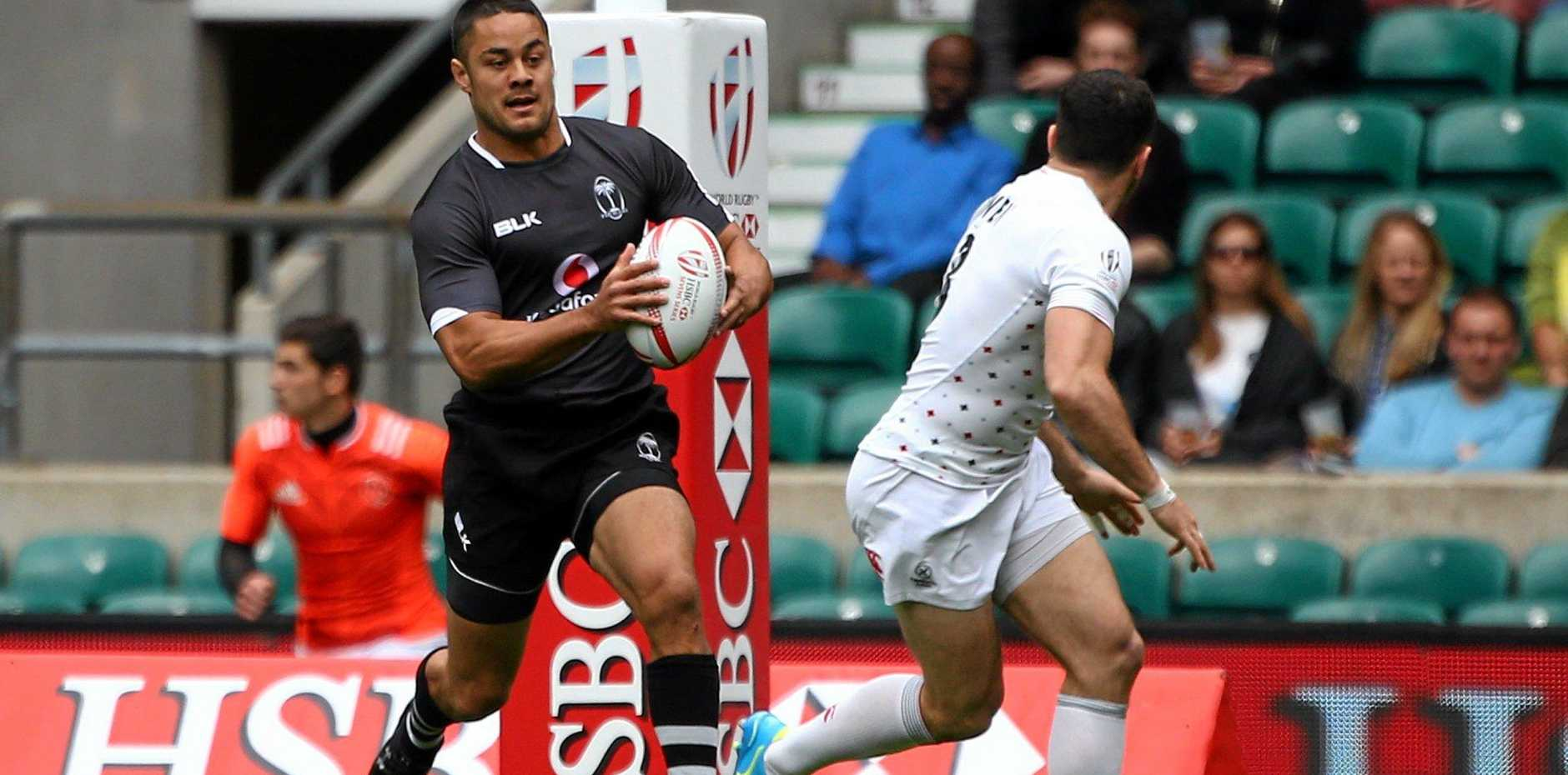 TOUGH START: Jarryd Hayne in action for Fiji during the pool round match against England.