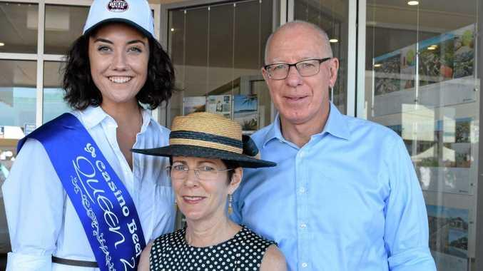 Georgie King with the NSW governor David Hurley and his with Linda Hurley.