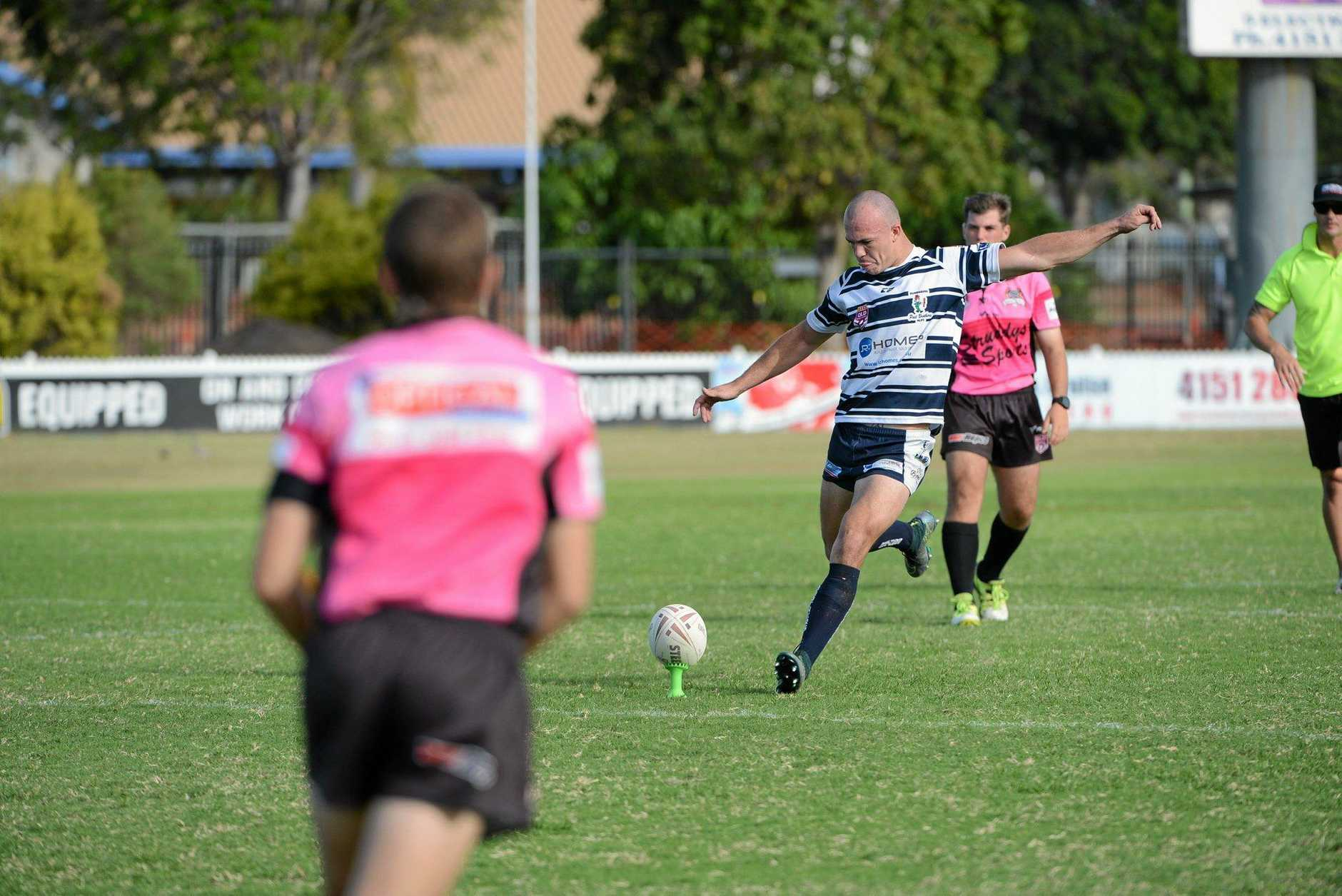 CONVERTED KICK: Brothers Jake Carl gets between the posts in the Salters Oval Rugby Game. Photo: Paul Donaldson / NewsMail