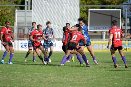 FULL FORCE: Vahiti Hopi slams into defence for ATW Tigers in the Salters Oval Rugby Game. Photo: Paul Donaldson / NewsMail