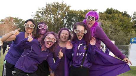 Dressed as Minions are (from left) Vivian Almeida, Katrina Calvisi, Abigail Williams, Anita Dickson, Hannah Geurtsen and Megan Apalais at Relay For Life in Queens Park