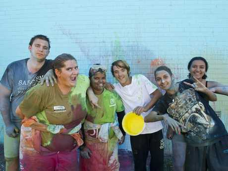 Having fun with colour are (from left) David Budden, Annastasia Harland, Taz Clay, Korie Mutch, Tiarni Rowe and Bindi Wenitong at a film making workshop at headspace as part of First Coat 2016, Saturday, May 21, 2016.