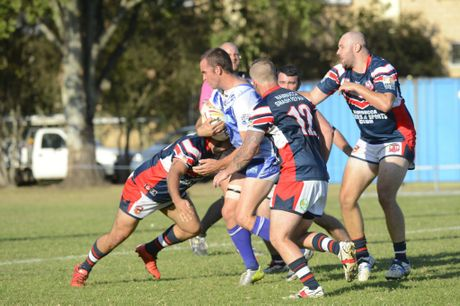 Ghosts Khan Williams during the Group 2 rugby league match against the Nambucca Roosters at McGuren Park on Sunday, 22nd May, 2015.