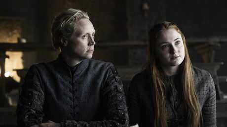 Gwendoline Christie and Sophie Turner in a scene from season six episode five of Game of Thrones.