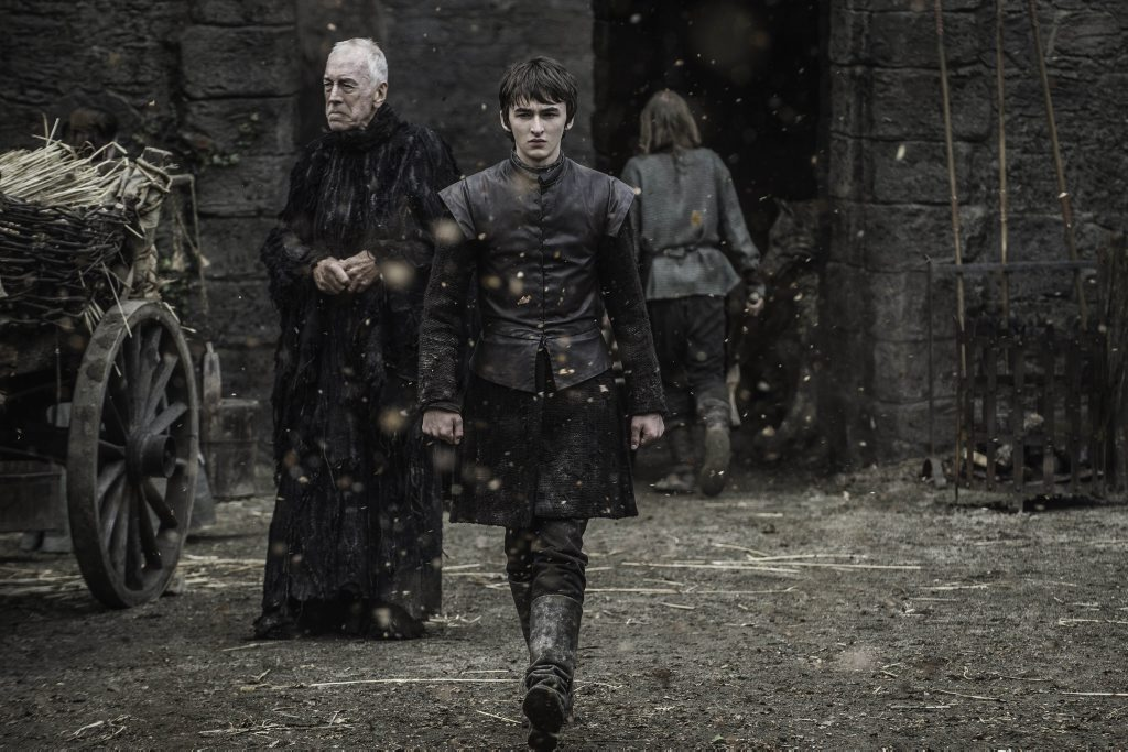 Isaac Hempstead Wright and Max von Sydow in a scene from season six episode five of Game of Thrones.