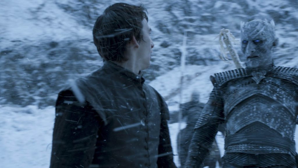 Isaac Hempstead Wright as Bran Stark with the Night King in a scene from season six episode five of Game of Thrones.