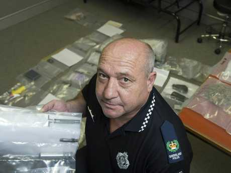 Acting Senior Sergeant Peter Jenkins of Toowoomba Tactical Crime Squad after police made arrests after raids uncovered drugs, drug equipment and chemicals.