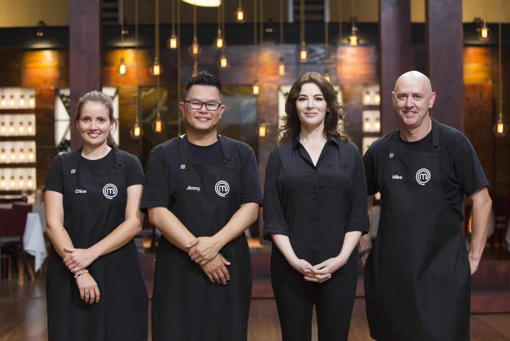 Chloe, Jimmy and Miles compete in a pressure test set by MasterChef guest judge Nigella Lawson, pictured second from right.
