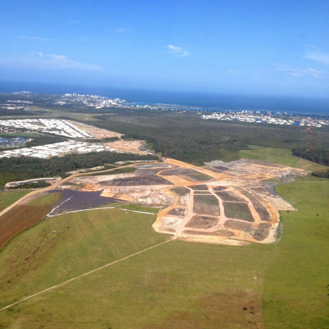 An aerial view of Stockland's new Aura subdivision taking shape at Caloundra South.