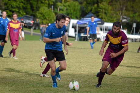 ON THE SHEET: Striker Byron Milne scored the only goal for Bangalow in the FFA Cup clash with Urunga.