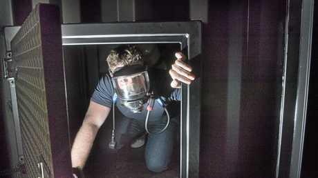 SAFETY SKILLS: Savanna rig manager Ryan Doneman in the safety training simulator.