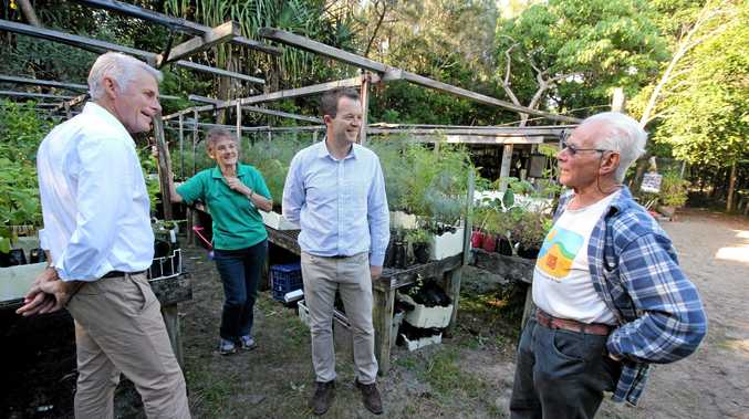 GREEN THUMBS: Tweed MP Geoff Provest, Fingal Coastcare president Kay Bolton and founder Bunny Rabbitts  chat with NSW Environment Minister Mark Speakman (centre)about the Dunecare projects.