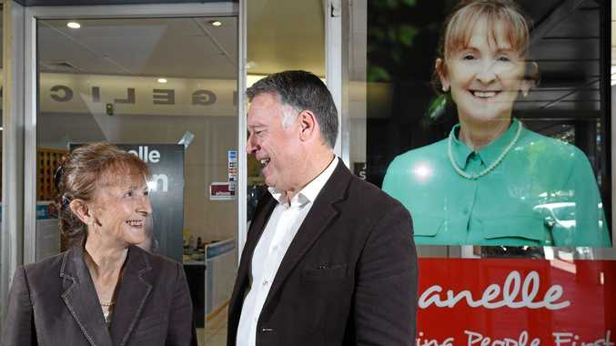 Janelle Saffin and Shadow Minister for Rural Affairs Joel Fitzgibbon discuss the proposed backpacker tax outside Janelle's office.