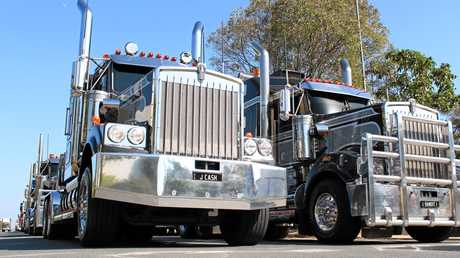 Some of Jon Kelly's trucks ready to roll for the 2013 Brisbane Convoy for Kids. Photo Sean Owens / Big Rigs