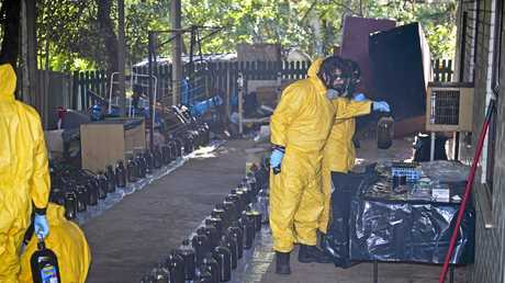 Police investigating drug supply in the Lismore area have dismantled a clandestine drug laboratory in Lismore Heights thursday afternoon. Police from the Chemical Operations Unit with the assistance of NSW Fire & Rescue HAZMAT officers, are examining the premises. Photo Mireille Merlet-Shaw / Northern Star