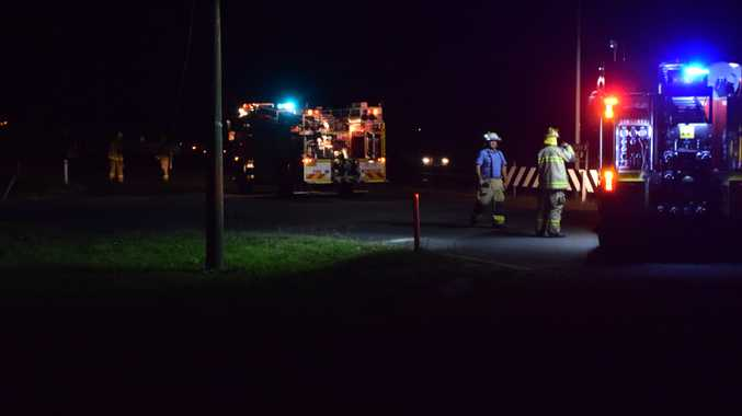 Fire crews are at the scene of fallen powerlines near a Caltex Service Station north of Warwick which has caused thousands of people to lose power.