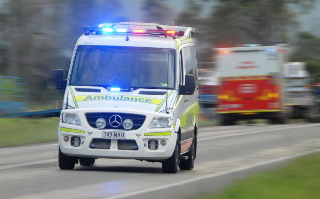 AN ELDERLY man was taken to Gympie Hospital this evening after a lit cigarette ignited in his face.
