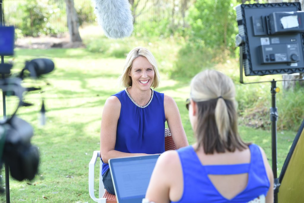 Susie O'Neill in the hotseat, filming for Hey Mumma.
