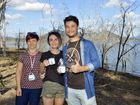 Julia Wood, Scarlett Eves-Cowell and Ken Harding at Death Valley Fun Camp at Lake Moogerah.