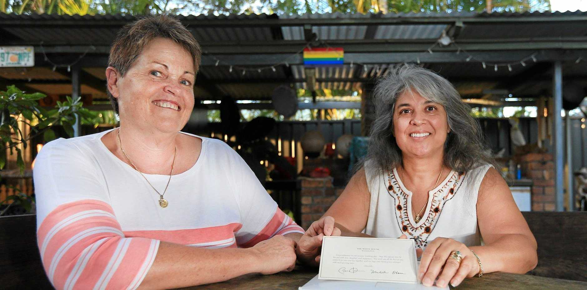 RECOGNITION: Rosa Caceres and Julie Robinson, from Fingal, fronted Opposition leader Bill Shorten over same-sex marriage.