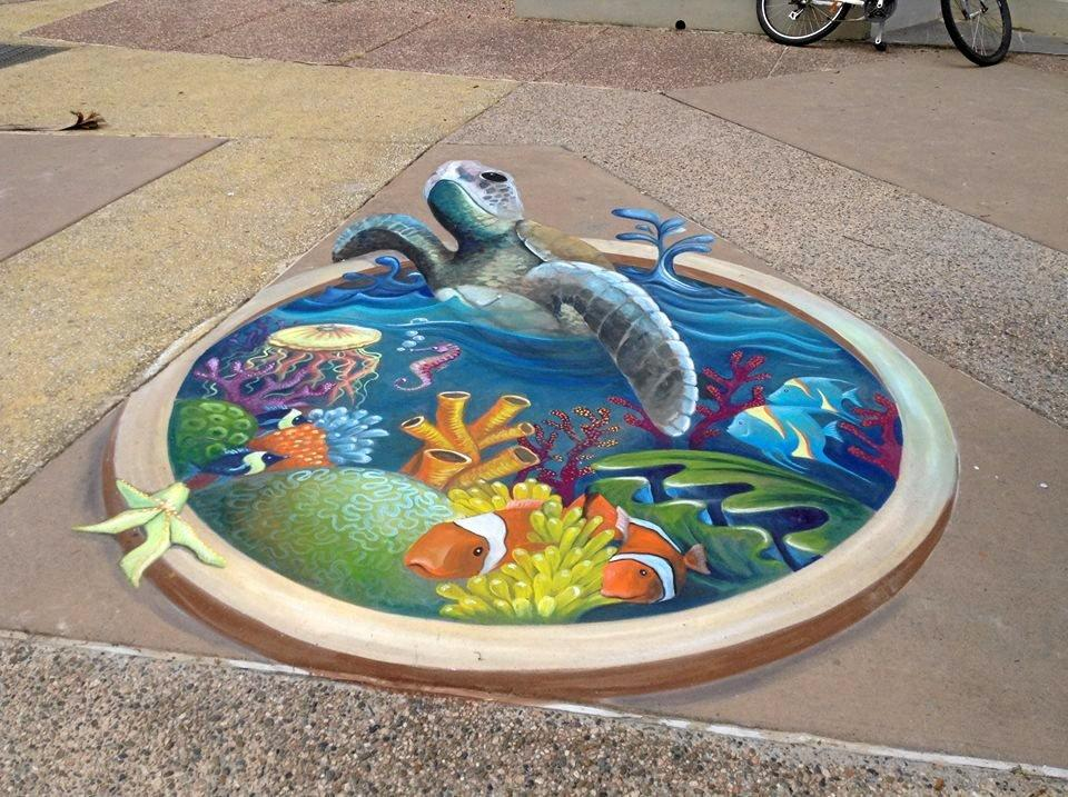 Chalk art from artist Amelia Batchelor will be on display as part of the Murwillumbah Art Trail this week.