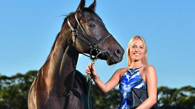 BRIGHT START: Alina Hickey is looking food for the Hot 91 Ladies Oaks Day with her handsome compasnion, Badraan.