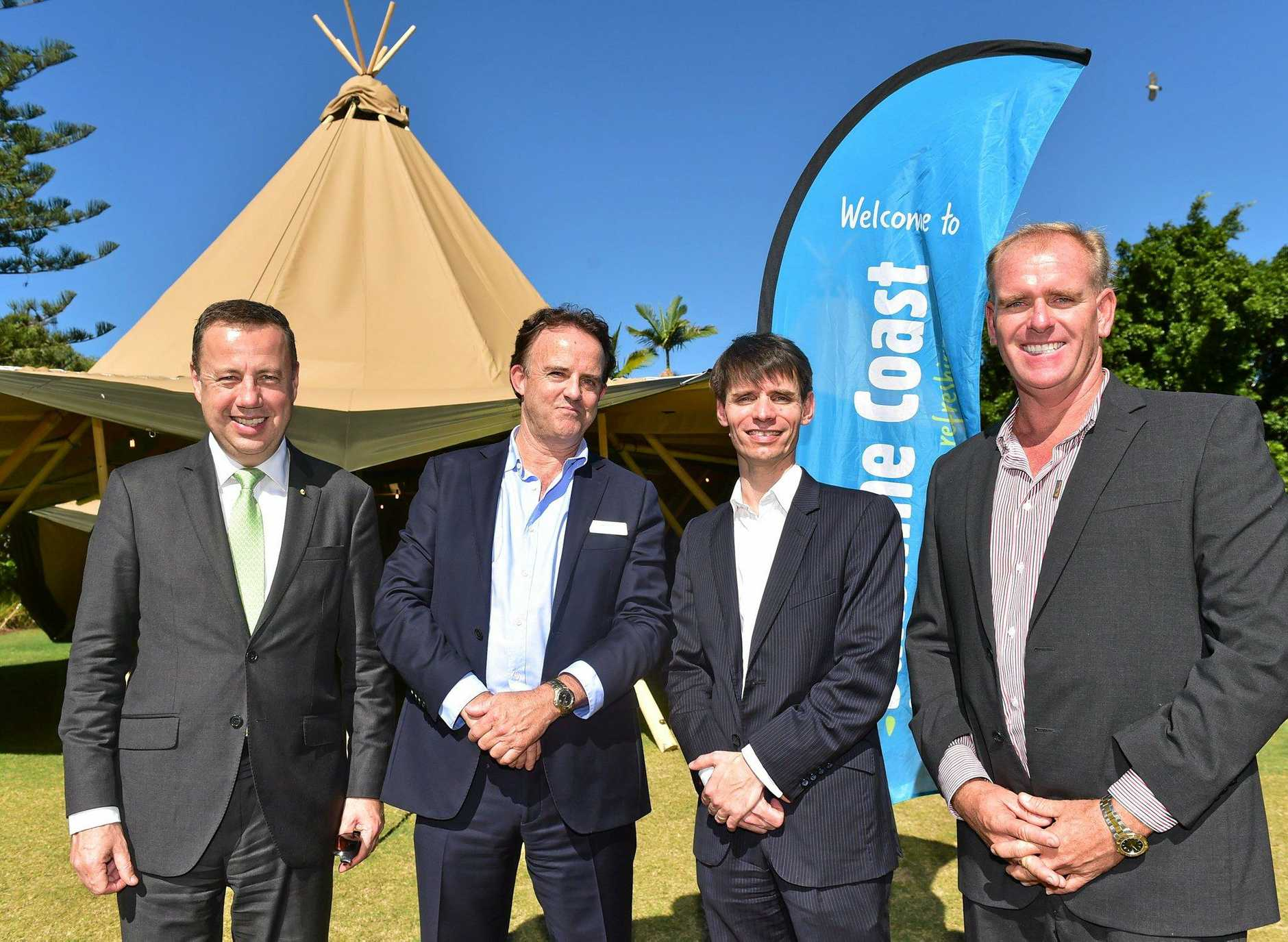 The Australian Event Awards will be held here for the next three years. (from left) CEO of Opera Australia, Craig Hassall, CEO of Visit Sunshine Coast, Simon Latchford, Managing Director of Australian Event Awards, Ian Steigrad and Cr Jason O'Pray.