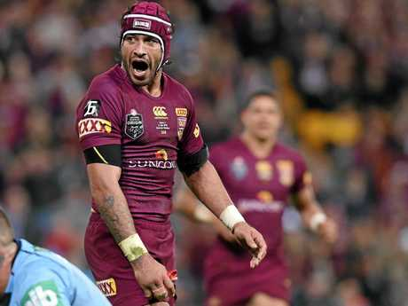 Queensland player Johnathan Thurston reacts during State of Origin Game III between the NSW Blues and Queensland Maroons at Suncorp Stadium, Brisbane, Wednesday, July 8, 2015.