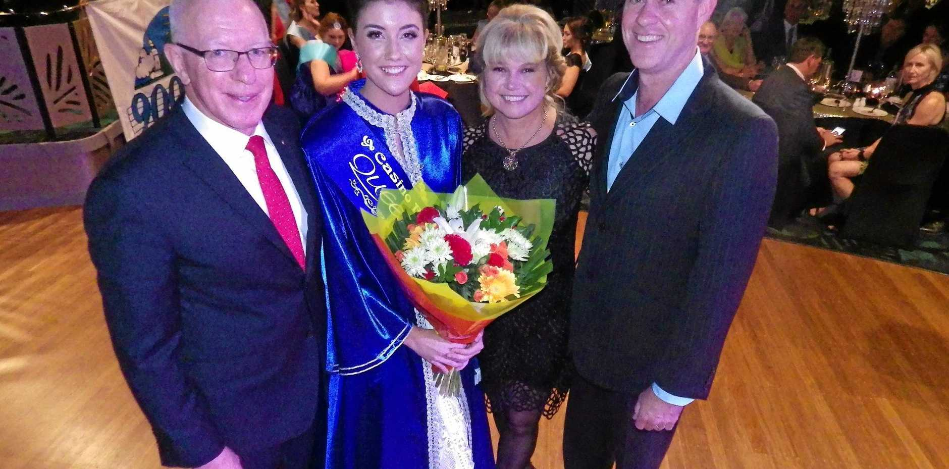 2016 Beef Week Queen Georgia King is crowned at the Casino RSM Club, pictured here with Governor David Hurley and her parents, Wendy and David King.