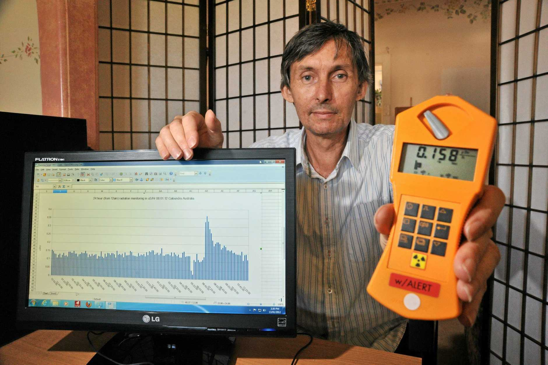 Caloundra's Peter Daley recently recorded a radiation level eight times the normal level on his geiger counter. Photo: Brett Wortman / Sunshine Coast Daily