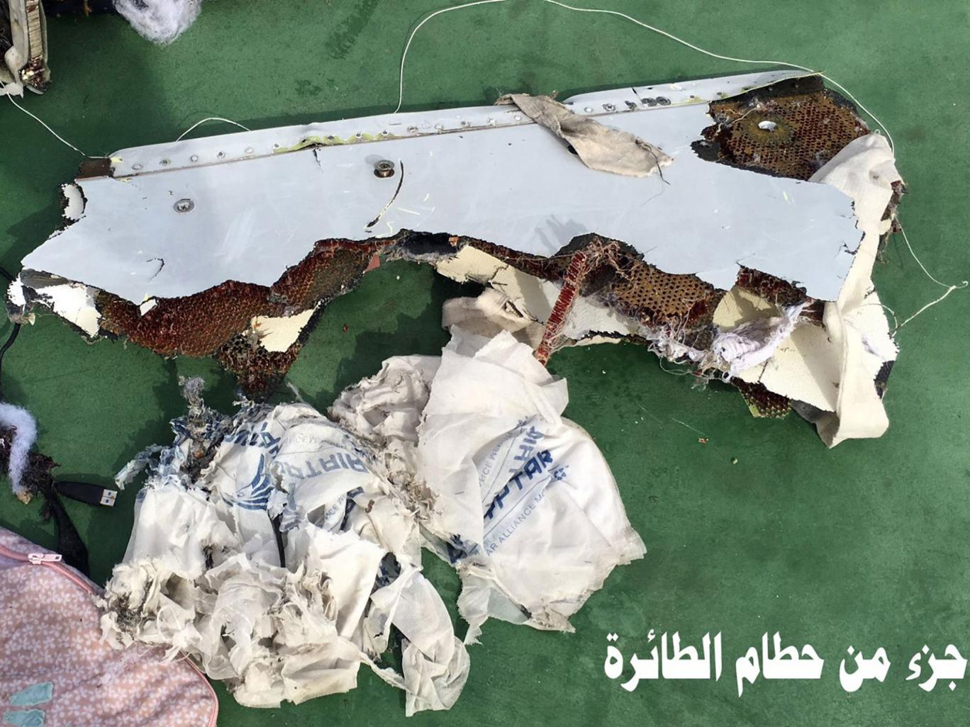 The Egyptian army published photos showing wreckage and debris from EgyptAir flight 804 on 21 May Egyptian army