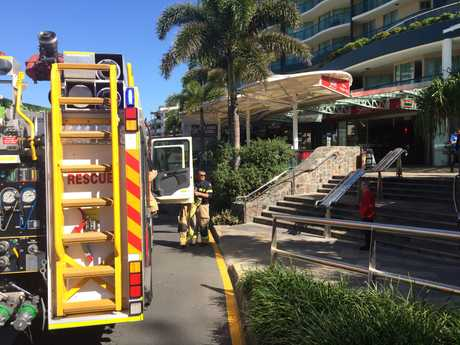 Fire crews attend the Esplanade in Mooloolaba after a fire in a kitchen.