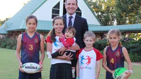 Promoting the HeartKids Queensland fundraising event on this coming Sunday May 29 at TACAPS are (from left) Annabelle Saunders, Charlotte Miles, Hannah Garcha, TACAPS Head of School Mr Simon Lees, Kaden Kuhn and Phoebe Kibble.
