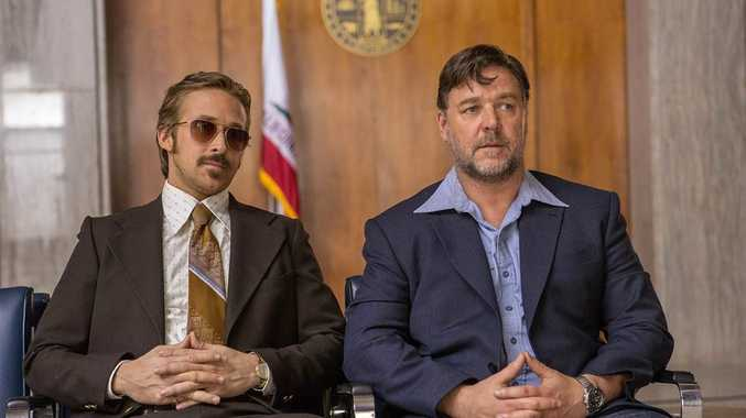 Ryan Gosling and Russell Crowe in a scene from the movie The Nice Guys.