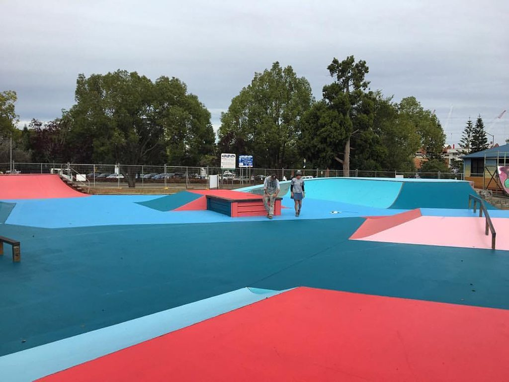 FALL DOWN GET UP: The Toowoomba skate park at Chalk Dr has been painted by Ian McCallum for First Coat.