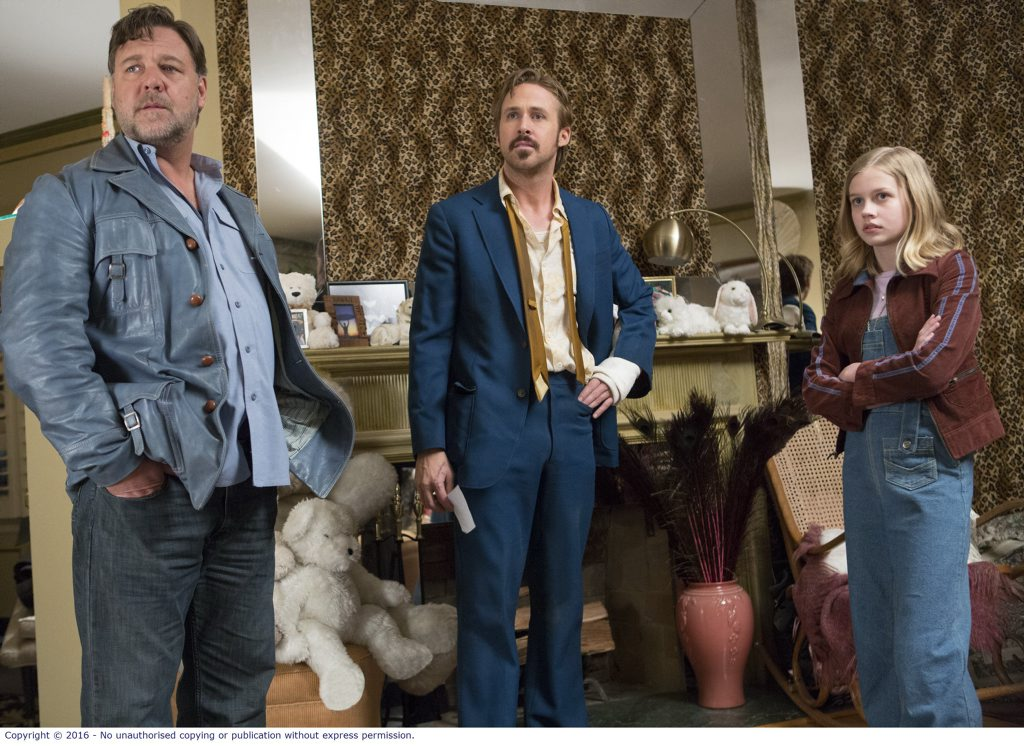 Russell Crowe, Ryan Gosling and Angourie Rice in a scene from The Nice Guys.