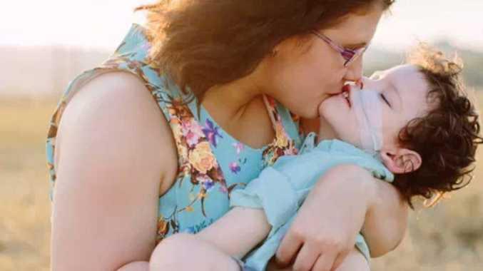 Taegan Stevens and her son Oscar Rochford.