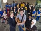 SCHOOL SONGS: Josh Arnold ( second from left ) with Ethan Mesken from St Joseph's College, Anna Dingley from The Glennie School and Rahila Abdul Hadi from Harristown State High School Wednesday May 25 , 2016.