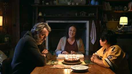 Sam Neill, Rima Te Wiata and Julian Dennison in a scene from Hunt for the Wilderpeople.