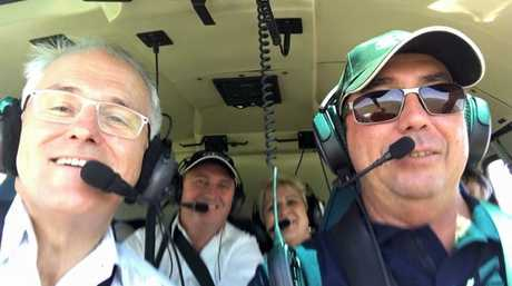 Prime Minister Malcolm Turnbull, Capricornia MP Michelle Landry and Deputy Prime Minister Barnaby Joyce fly over Rookwood Photo: Contributed